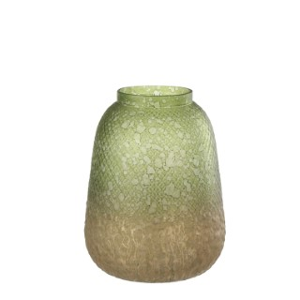 Vase en verre vert et or H. 15,5 x Ø 13 cm 624466