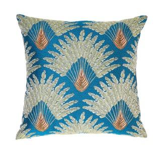 Coussin carré Atoll bleu à motif plumes de Paon 45x45 cm 635337