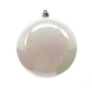 Boule de Noël plastique blanc irisé D 14cm