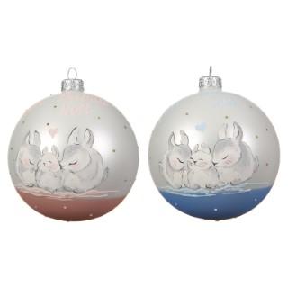 Boule bébé en verre Famille Lapin rose ou bleu Ø 10 cm 636388