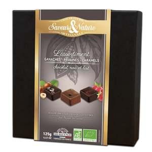 Assortiment de 16 chocolats bio noir et lait en coffret de 125 g 652132