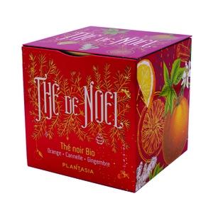 Thé de Noël bio orange cannelle Gingembre en boîte cube métal 48 g
