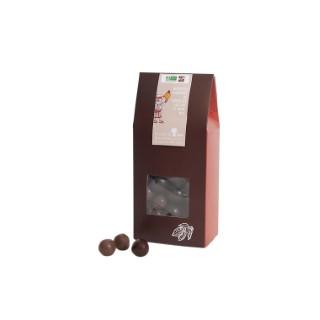 Pochon de noisettes bio enrobées de chocolat lait ou noir 180 g 653047