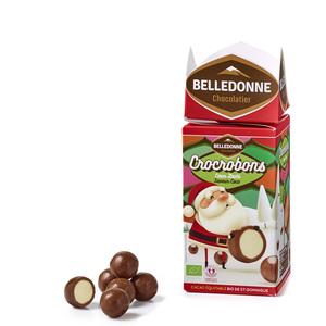 Bonbons au chocolat Crocobon en étui cartonné rouge et vert de 160 g