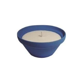 Bougie à la citronnelle dans bol terre cuite bleu Mykonos 55X120 659228