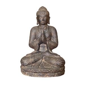 Statue de Bouddha assis salutation coloris noir 45 cm 659281