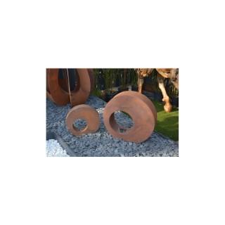 Photophore bulle en métal effet rouille coloris marron 40 cm 659294