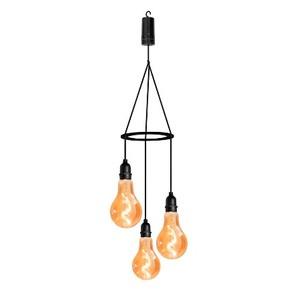 Suspension Flow 3 ampoules en verre LED à piles Ø 10 x H 19 cm 659562