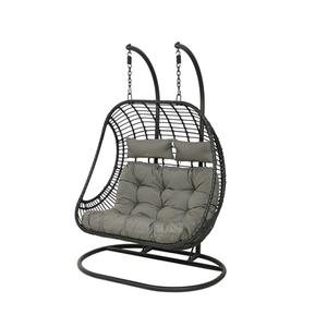 Chaise à suspendre noire Riga pour 2 personnes 659851