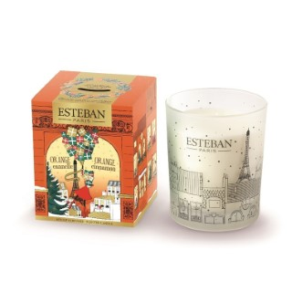 Bougie parfumée Orange Cannelle dans boite décor Noël orange 170 g