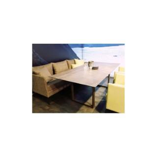 Table pieds en U Stern en alu anthracite & HPL gris métallique 200 x 100 cm 660793