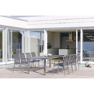 Table extensible Stern inox & HPL gris métallique 174/214/254 x 90 cm 660801