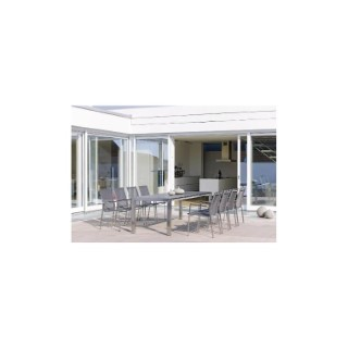 Table extensible Stern inox & HPL coloris ciment 174/214/254 x 90 cm 660803