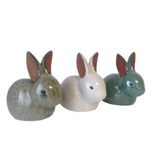 Statue de jardin lapin en céramique émaillée - 21,5x13,5x19,5 cm 661406