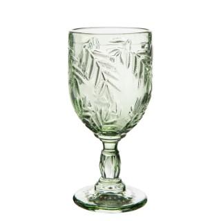 Verre à vin à pied en verre vert avec motifs feuillage Ø 8 x H 17 cm 661586