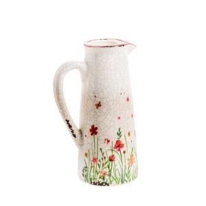 Cruche décorative Flowery en grès blanc à fleurs 15 x 12 x 27 cm 661994