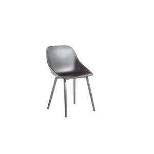 Chaise coque en aluminium et polypropylène coloris noir 57 x 49 x 82,5 cm 662576