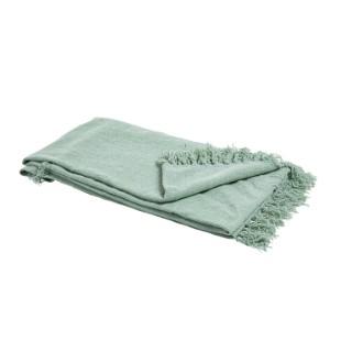 Plaid tissu chenille vert en coton 130 x 170 cm 662705