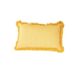 Coussin frangé en coton jaune déhoussable 30 x 50 cm 663084