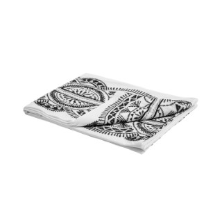 Nappe en coton blanc brodée noir 150x250 cm 663088