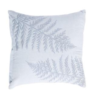 Coussin carré coton gris brodé motifs feuilles 40 x 40 cm 663098