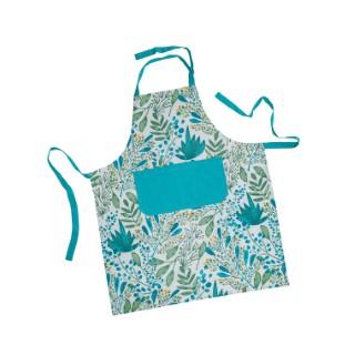 Tablier Campagne en coton imprimé bleu turquoise 70x85 cm 663141