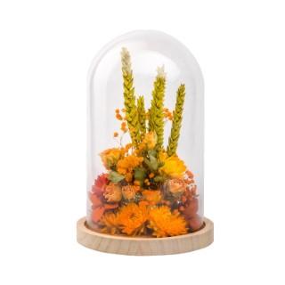 Cloche de fleurs séchées orange taille L Ø 17 x H 25 cm 663576