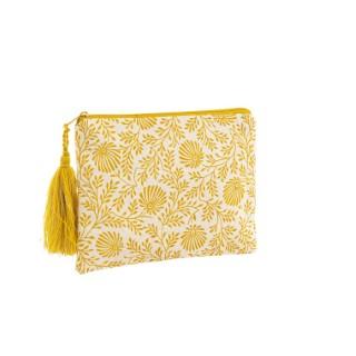 Trousse en coton jaune rectangulaire 16 x 21 cm 665476