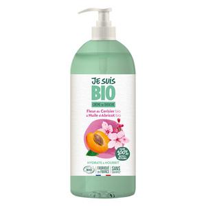 Crème douche Fleur de Cerisier et Abricot bio flacon 1 L vert 677603