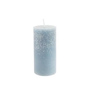 Bougie cylindrique bleu nuit avec effet givré Ø 5,6 x 12 cm