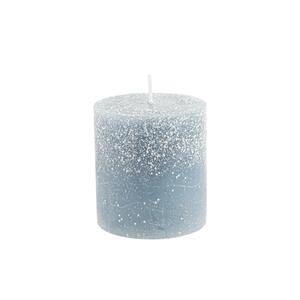Bougie cylindrique bleu nuit avec effet givré Ø 6,8 x 7,5 cm