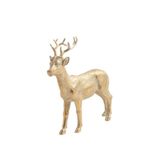 Cerf à poser en résine coloris or 14 x 5 x 16 cm