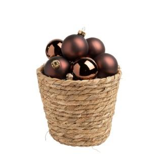 Boîte de 24 mini-boules marron en verre brillant et mat Ø 2,5 cm