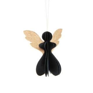Ange noir avec des ailes dorées en papier 7,5 cm