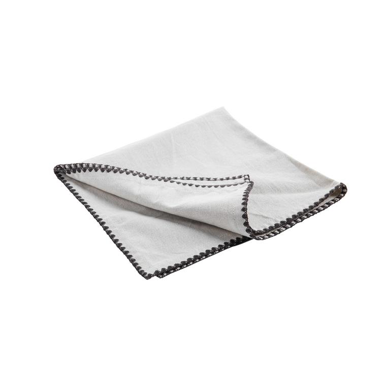 Serviette de table beige en coton brodée noire de 45 x 45 cm 618063