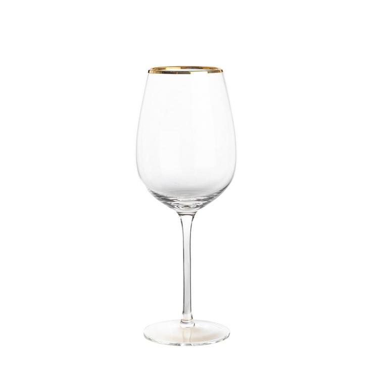 Verre à vin en verre transparent à col doré H 24 x Ø 9 cm 623885