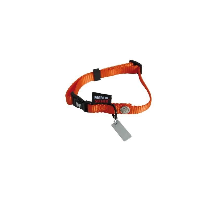 Collier chien réglable 10mm / 20-30cm orange 626671