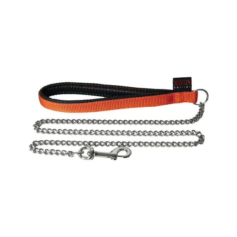 Laisse chien chaîne forte 25 mm / 100 cm orange 626726