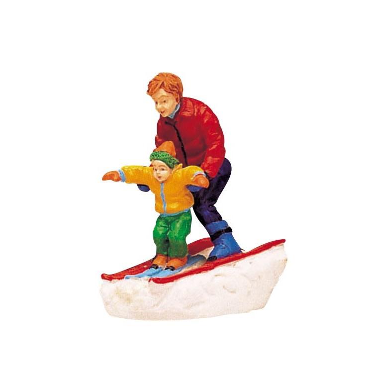 Figurine Skieurs père et fils 4 x 5 x 5 cm 627582