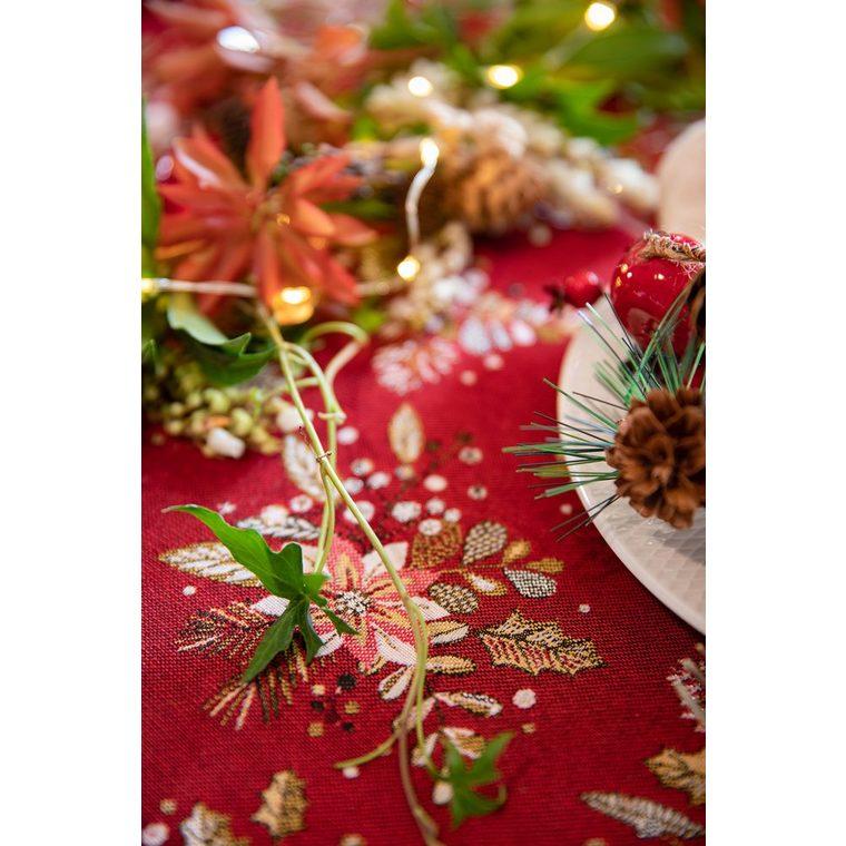 Nappe de Noël Holly Nappe rouge à motif or 150x250 cm 635367