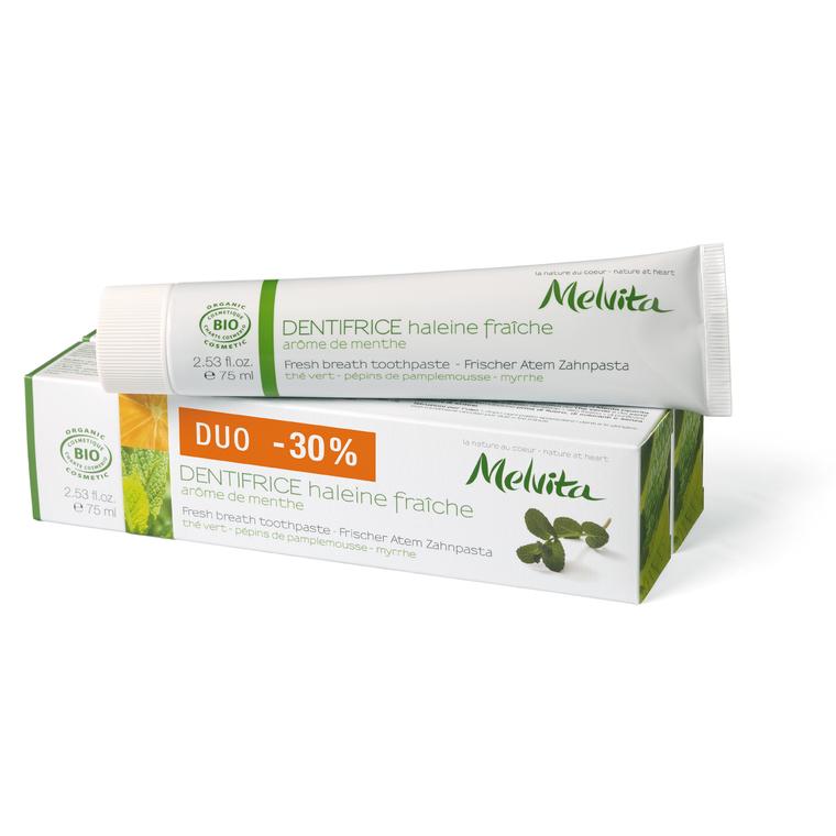 Duo dentifrice haleine fraîche Melvita 2 x 75 ml 64239
