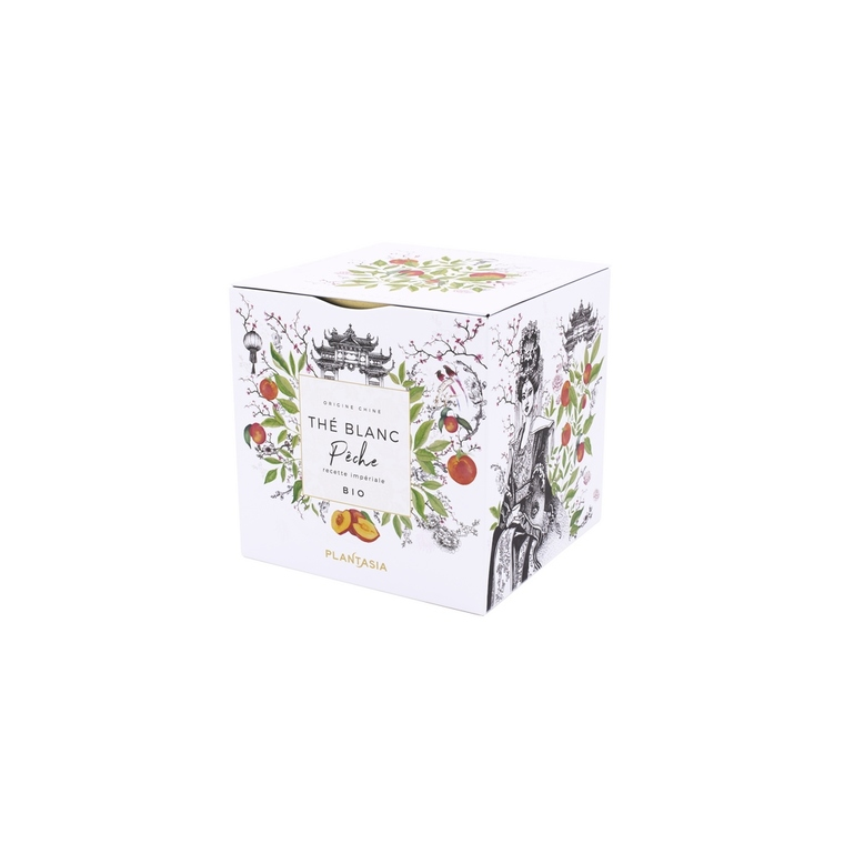 Thé blanc à la pêche bio 24 sachets en boite cube métal 653019