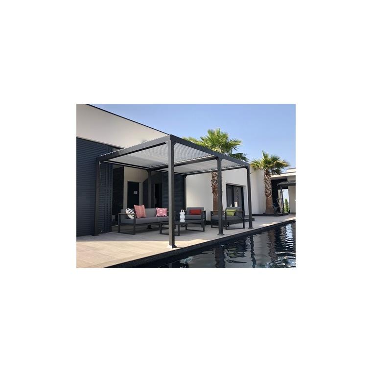 Pergola Bioclimatique lames en aluminium grise - 3x4 m 658957