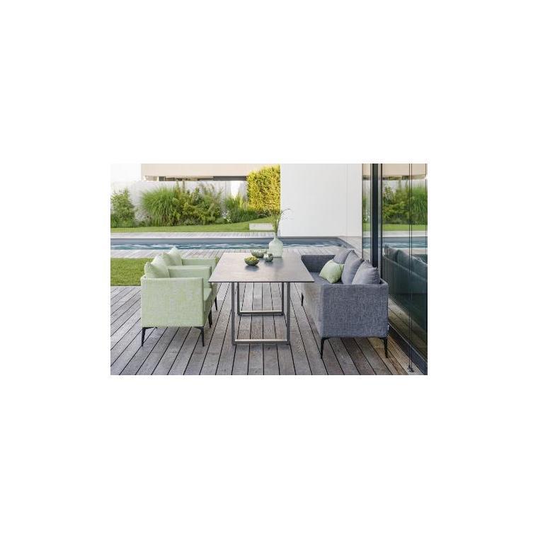 Table pieds en U Stern en alu graphite & HPL coloris smoky 200 x 100 cm 660796