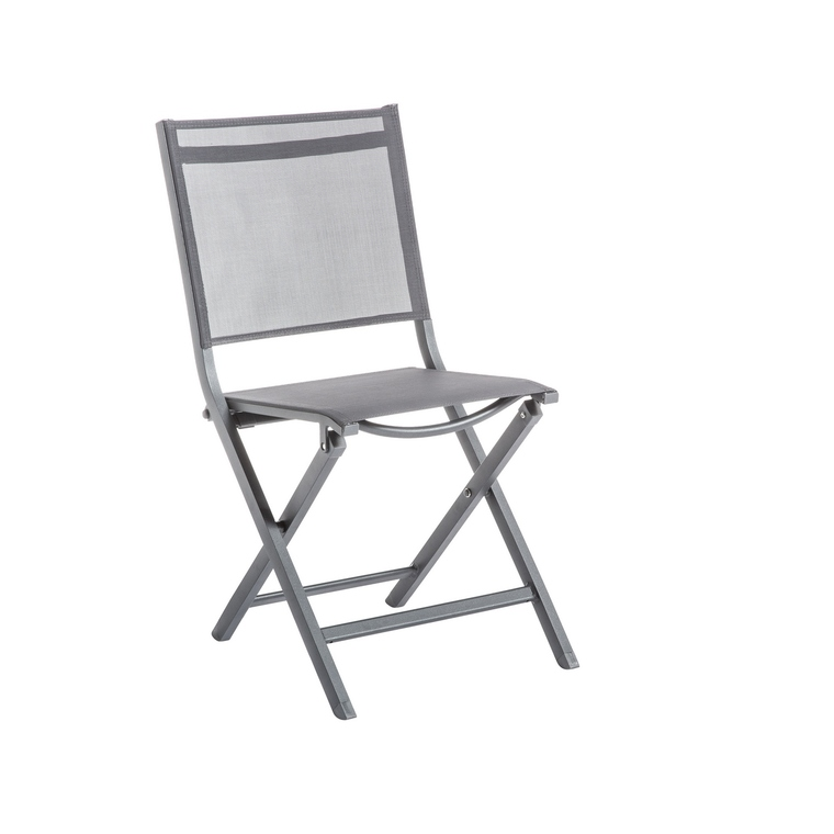 Chaise pliante Max en aluminium grise 90 x 45 x 52 cm 661794