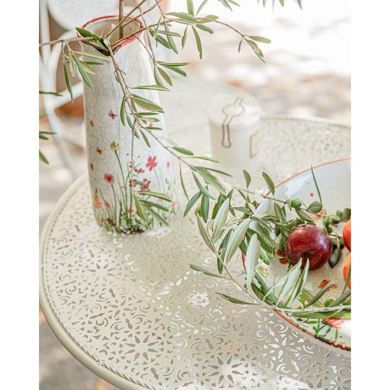 Plateau décoratif Flowery PM en grès blanc à fleurs Ø 26 x H 5,5 cm 661976