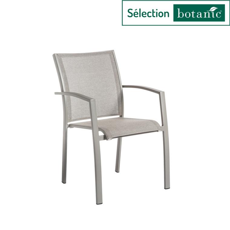 Fauteuil empilable Filao en aluminium et Batyline coloris beige 662569