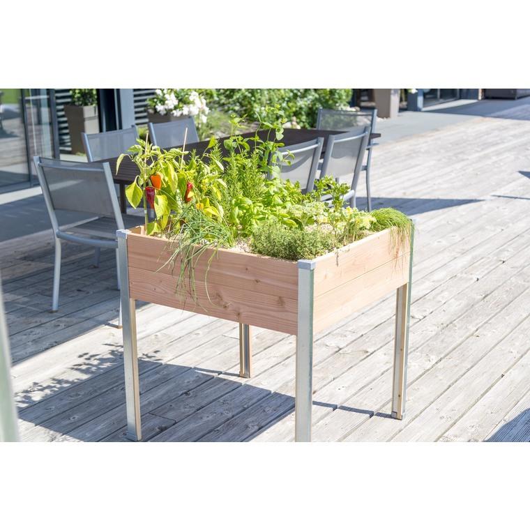 Potager carré design sur pieds avec feutre géotextile 75 x 79,5 x 80 cm 662644