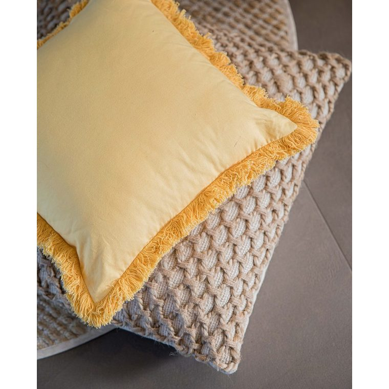 Coussin de sol beige en jute et coton 60 x 60 cm 662688