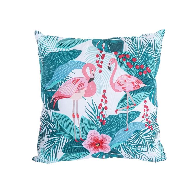 Coussin Flamand rose en coton vert et rose déhoussable 40 x 40 cm 662811